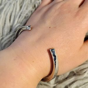 Stella Valle T Initial Cuff Bracelet Silver Color